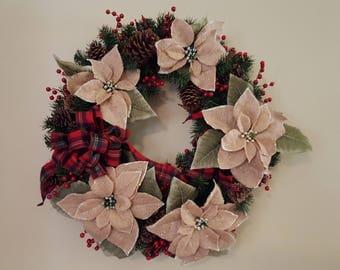 Christmas Wreath, Burlap Poinsettia Wreath, Christmas Poinsettia Wreath, Holiday Wreath