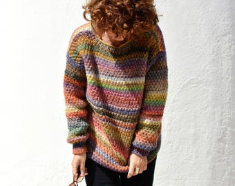 rainbow colorful wool sweaters, hand knitted, oversized, free shipping