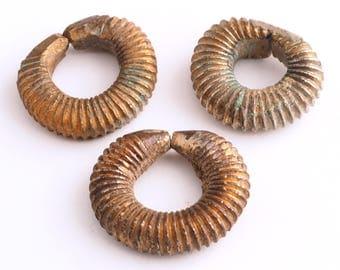 3 Antique brass hair adornments. Mali