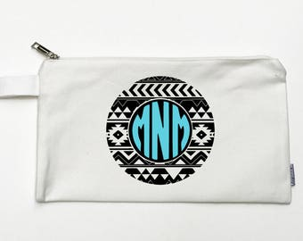 Custom Aztec Monogram Canvas Pouch