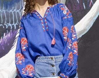 Vyshyvanka blue linen Ukrainian embroidered blouse. Bohemian. Free Shipping