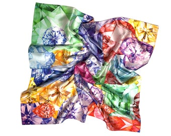Silk Square Scarf, Diamond, Brilliant, Emerald, Ruby, Citrine, Printed Silk Scarf, Gift For Her, Art Scarf, Shawl, Watercolor, Illustration