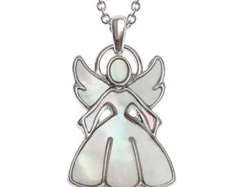 BellaMira Guardian Angel Fairy Pendant ~ Inlaid with Mother of Pearl Shell ~ Elegant Necklace Jewellery for Women Girl Gift Boxed