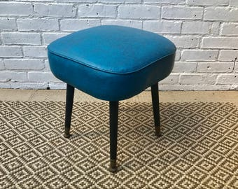 Blue Vinyl Retro Stool #203