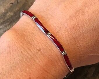 950 Sterling Silver Red Jasper Wavy Link Bracelet Vintage Fine Mexico