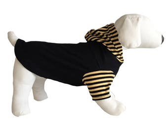 S-M-L Dog Hoodie, Black body with black and gold stripes