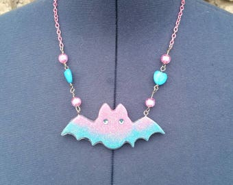 Kowai Resin Batty Beaded Necklace, Cute Batty Jewelry, Creepy Gifts, Beaded Necklace, Pastel Goth, Fairy Kei, Kawaii, Pop Kei, Decora