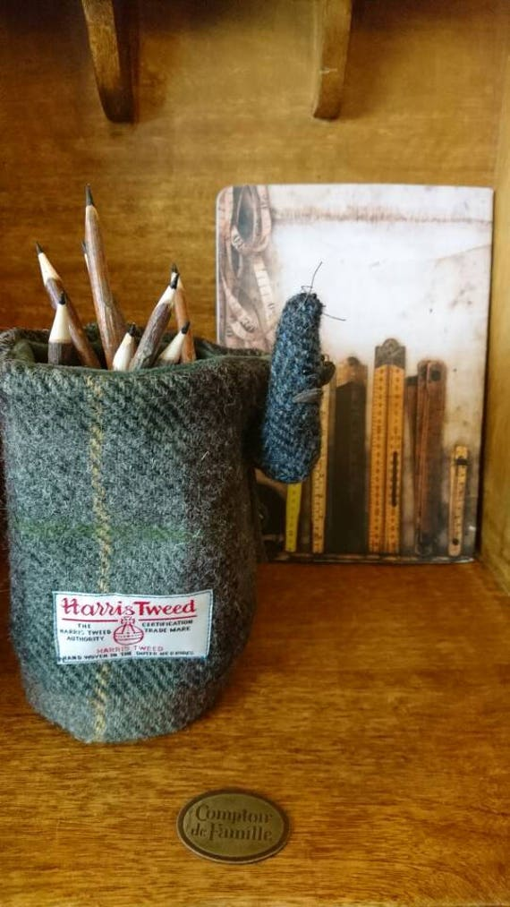 Hand Crafted Harris Tweed Little mouse pencil holder office organiser