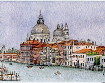 """Original Ink and Watercolour Miniature Painting (2017) - """"Grand Canal at Dorsoduro"""" (Venice, Italy)"""