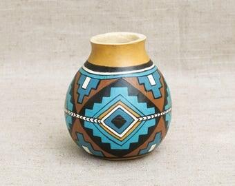 Southwestern Hand Painted Small Gourd Running Antelope Geometric Southwest Pottery - Inspired #160