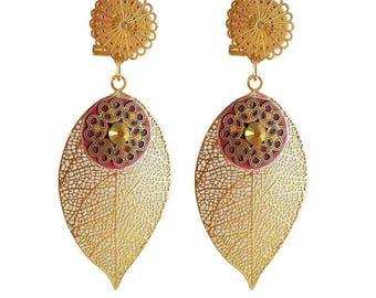 Earring clip Golden red leaf (made in France)
