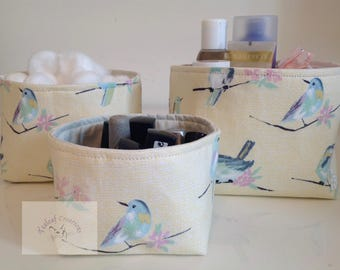 NEW - Fabric Storage Box Set - Yellow/Blue Birds