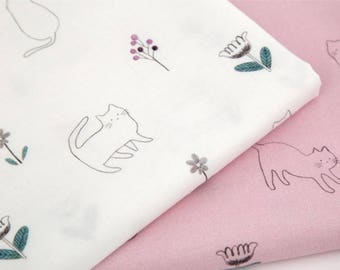 Cute Cat Kitty Flower Patterned Fabric made in Korea by the Half Yard
