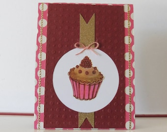 Cupcake card - Any occasion card - Blank double greeting card - Handmade - Main card color is light brown