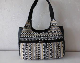 Handbag multicolor, ethnic jacquard fabric, black ostrich leather
