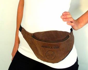 Waist bag leather brown festival bag leather Army Belt Bag Leather Funny Pack leather American Apparel Avirex USA RARE Vintage
