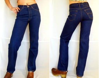 Mom jeans Levis W28 High waist Levi Strauss classic indigo blue denim pants straight cut leg vintage 1990s 90s