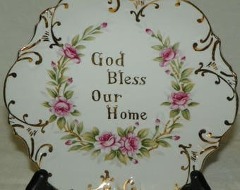 """Lefton China Hand Painted """"God Bless Our Home"""" Plate KF1829N Made in Japan Glassware Collectible Housewarming Gift Home Decor"""