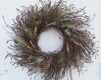 outdoor sweet fern twig wreath with moss, birch bark and pine cone star/mossy sweet fern twig wreath with birch bark and cones/twig wreath