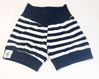 Black and White Striped Shorties