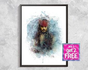 Jack Sparrow Print, Pirates of the Caribbean print, Jack Sparrow poster, Jack Sparrow watercolor print,  Pirates of the Caribbean art