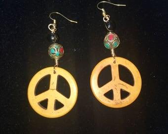 Vintage Tribal peace sign earrings
