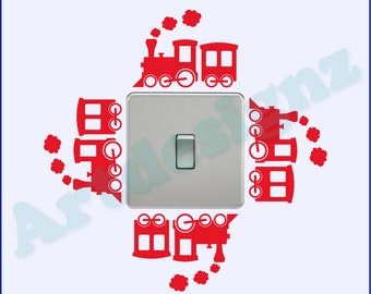 Train Carriages Boys Girls Childrens Bedroom Playroom Nursery Vinyl Wall Art Light Switch Sticker Surround Decal Transfer *20 colours*