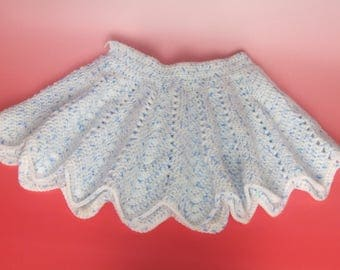 skirt for girl from 9 / 12 months in Heather blue and white crochet