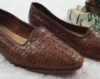 Vintage Leather Loafers, Woven Style, Slide On Shoes, Cabin Creek, Brown Leather Flats, 80s 90s, Hippy, Boho, Hipster, Brown, Size 8