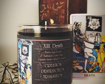 DEATH Tarot Candle - Spell Candle - Magick - Witchcraft - Rider Waite - Black Tourmaline