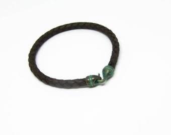 Dark brown braided leather bracelet, men women  cuff bracelet, Brass open hook clasp
