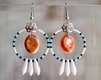 Earring Hoops PHEBE Blue, white and black - Earring Hoops Creoles - Eye of Santa Lucia