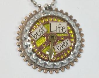 Best Life Ever Steampunk Bottlecap Necklace - Yellow