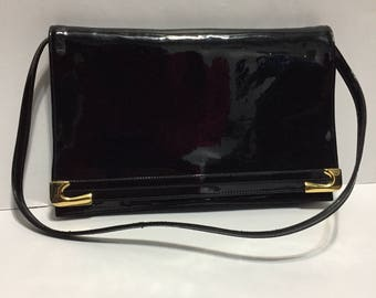 Mastercraft Canada - Patent Leather - Black Shoulder Purse - Gold Accent