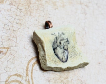 Anatomical Heart Pendant On Sea Pottery, Handmade Shipwreck Pottery Heart Necklace, Anatomy Pendant