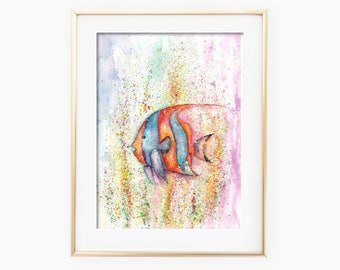 Watercolor Fish, Fish Watercolor, Fish Painting, Sea Life Art, Fish Art Print, Fish Wall Art, Sea Life Watercolor, Sea Life Painting