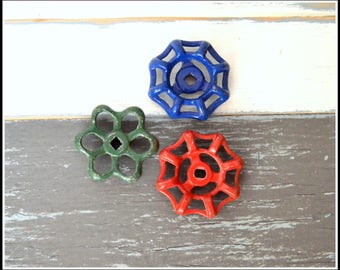 Three (3) Vintage Outdoor Faucet Knobs - Painted Spigot Knobs - Valve Handles - Faucet Handles