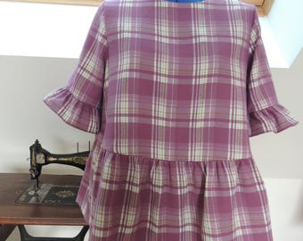 Tunic with ruffle and short sleeves cotton Plaid