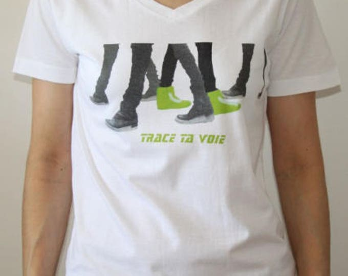 White unisex graphic tee path your blue - green - pink