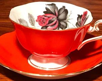 Amazing Royal Albert Masquerade Orange Teacup and Saucer