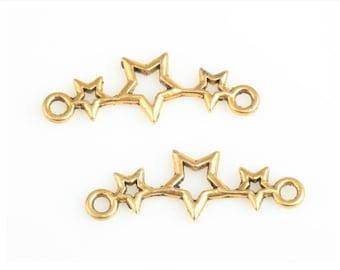 Set of 2 Gold Star connectors - 25x9mm