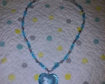 Glass turquoise heart necklace