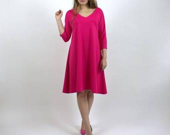 Flared Dress - Plus Size Dress - Loose Dress - Oversize Dress - V Neck Dress - Autumn Dress - Flared Dress Sleeves - Midi Dress - BeLoved