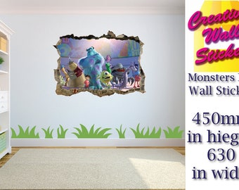 MONSTERS UNIVERS wall sticker Children's bedroom large Sully & Mike Wazowski. w63cm x h45cm