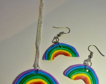 Rainbow necklace & earring sets