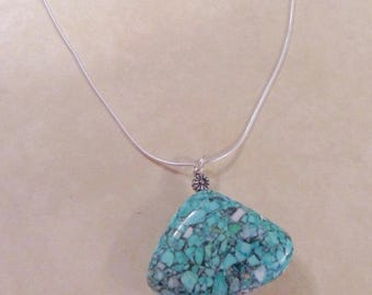 Turquoise  Mosaic Flower Nugget Pendant Sterling Silver Necklace