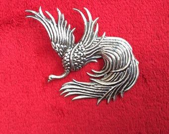 Vintage Sterling Phoenix or fire bird brooch signed