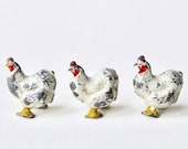 Vintage Britains Hens. Lead Chickens, lead toy farm animal set of three hens, chickens. Britains Model Home Farm 1932 Gamleys catalogue.