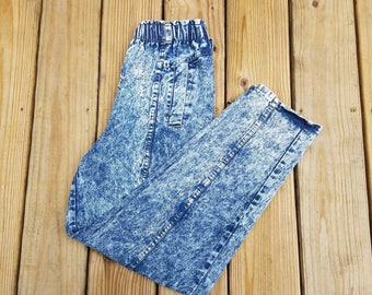 Vtg 80s Acid Washed Jeans By Cherokee   Vintage Retro Made In USA   Womens 14 Petite   TUFF