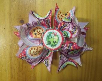 "Shopkins 6"" Handmade Boutique Girls Layered Hair Bow - Apple Blossom, Yo-Chi, Kooky Cookie"